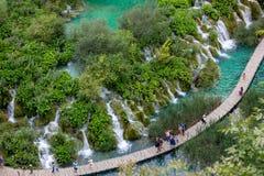 Plitvice ett naturligt paradis på jord fyllde med klart vatten och vattenfall Fotografering för Bildbyråer