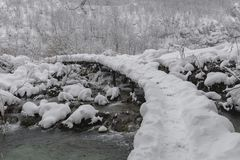 Plitvice jezior park narodowy, śnieg zakrywał naturę Naturalny krajobraz zamarznięty Plitvice jezior park narodowy Zdjęcie Stock