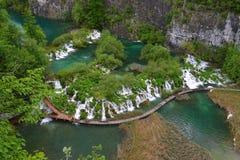 Plitvice jezior parka odgórny widok Obrazy Royalty Free