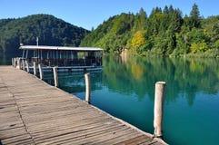 Plitvice lake. Passenger boat at the docks in The lake of Plitvice, Croatia Royalty Free Stock Photos