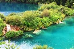 Plitvice lake with magic colors. And sunshine reflex Stock Photos