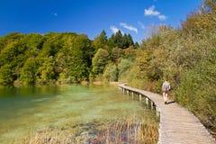 Plitvice lake path Royalty Free Stock Images
