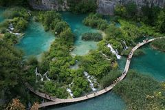 Plitvice lakes. Croatia´s  national park also listed in UNESCO´s World natural heritage. Sixteen lakes are connected by 92 watterfalls in picturesque Stock Images