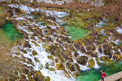 Plitvice lakes cascades aerial view Stock Photography