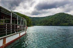 Plitvice lakes in Croatia. Boat at National park Plitvice lakes in Croatia Royalty Free Stock Photography