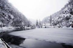 Plitvice Lakes, Croatia. Frozen lake at national park, Plitvice lakes, Croatia stock photography