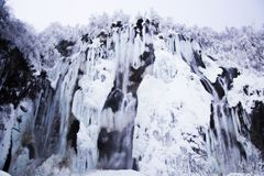 Plitvice Lakes, Croatia. Frozen waterfalls at national park, Plitvice lakes, Croatia Royalty Free Stock Images