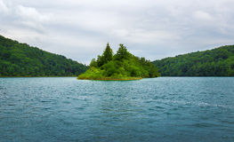 Plitvice lakes in Croatia. Island in the Plitvice Lakes, National Park of Croatia Stock Image