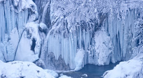 Plitvice lakes frozen waterfalls Stock Photography