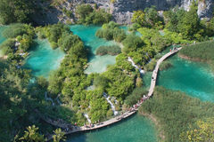 Plitvice Lakes. Gangway over a lake in the Plitvice Lakes National Park, Croatia Stock Image
