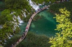 Plitvice lakes. Hiking trail across Plitvvice lake Stock Photos