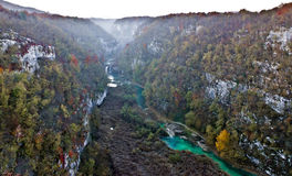 Plitvice lakes national park canyon in fog Royalty Free Stock Photo