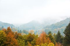 Plitvice lakes national Park, Croatia. Autumn landscape. Golden trees, fog, mountains and waterfall.  royalty free stock photo