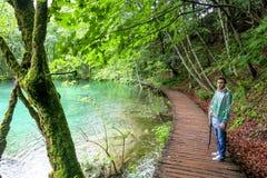 Plitvice Lakes nature wonderland. Plitvice Lakes national park in Croatia nature wonderland with beautiful lakes and waterfalls stock photos
