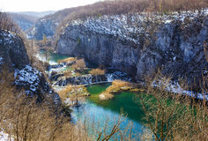 Plitvice Lakes National Park, Croatia. Scenic winter landscape with lakes and waterfall in the mountains of Plitvice Lakes National Park, Croatia Royalty Free Stock Photos