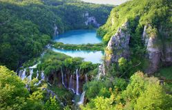View at Plitvice Lakes and Waterfalls. Plitvice Lakes National Park in Croatia on a sunny day SONY DSC royalty free stock photo