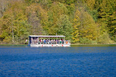 Plitvice lakes national park electric boat Stock Photo