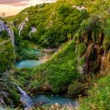 Plitvice Lakes National Park. Lower lakes area in Plitvice Lakes National Park at sunset Royalty Free Stock Photos