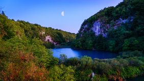 Plitvice Lakes National Park. Lower lakes in Plitvice Lakes National Park after sunset Stock Image