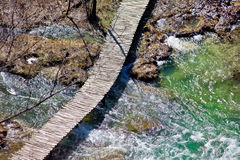 Plitvice lakes national park wooden boardwalk Royalty Free Stock Photo