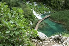 Plitvice Lakes nature wonderland. Plitvice Lakes national park in Croatia nature wonderland with beautiful lakes and waterfalls royalty free stock image