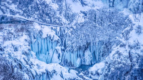 Plitvice lakes panorama. Winter panorama of frozen waterfalls at Plitvice lakes in Croatia Stock Image