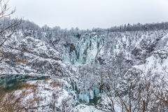 Plitvice lakes panorama. Winter panorama of frozen waterfalls at Plitvice lakes in Croatia Stock Photos