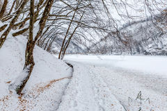Plitvice lakes snowy winter Stock Photography