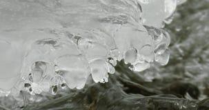 Plitvice lakes waterfall - ice detail stock footage