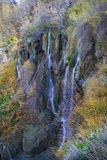 Plitvice Lakes and waterfalls with Autumn colors stock photography