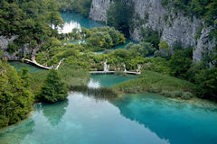 Plitvice lakes and waterfalls in Croatia. Aerial view. One lake flows into another Royalty Free Stock Photos