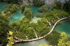 Plitvice lakes and waterfalls in Croatia. Aerial view. One lake flows into another Stock Photo
