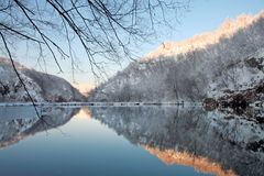 Plitvice lakes in winter Stock Photo
