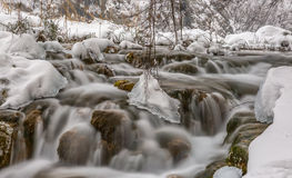 Plitvice lakes winter cascade Royalty Free Stock Images