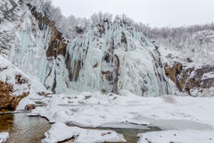 Plitvice lakes winter large waterfall Stock Images