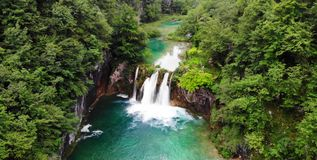Plitvice National Park, Croatia, Europe. Amazing view over the lakes and waterfalls surrounded by forest.  royalty free stock photo