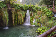 Plitvice paradis för vattenfall för landskap för sjöhöst Arkivbild