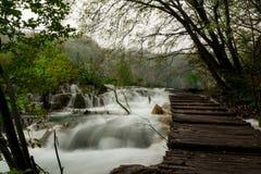 Plitvice park footpath round waterfalls Stock Photos
