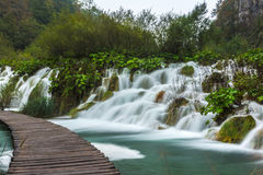 Plitvice park footpath round waterfalls Stock Photography