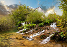 Plitvice river cabin Royalty Free Stock Image
