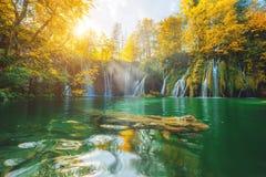 Plitvice sjö i Kroatien Fotografering för Bildbyråer
