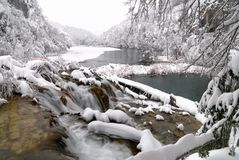 Plitvice sjöar i vinter arkivbild