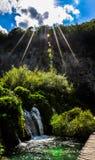 Plitvice sjöar och vattenfall arkivfoto