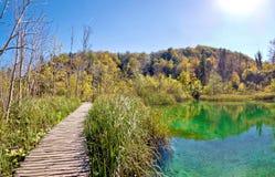 Plitvice strandpromenad för sjönationalpark Arkivbilder