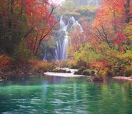 Plitvice waterfalls in the fall royalty free stock photos