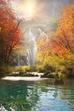 Plitvice waterfalls in the fall stock photography