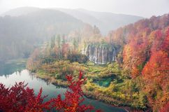 Plitvice waterfalls in the fall. Plitvice Waterfalls in Croatia is one of the famous famous places in Europe, very beautiful. The jets of water on the background stock images