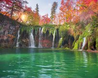 Plitvice waterfalls in the fall royalty free stock image
