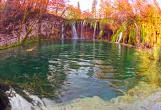 Plitvice waterfalls in the fall royalty free stock photography
