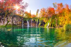 Plitvice waterfalls in the fall royalty free stock images